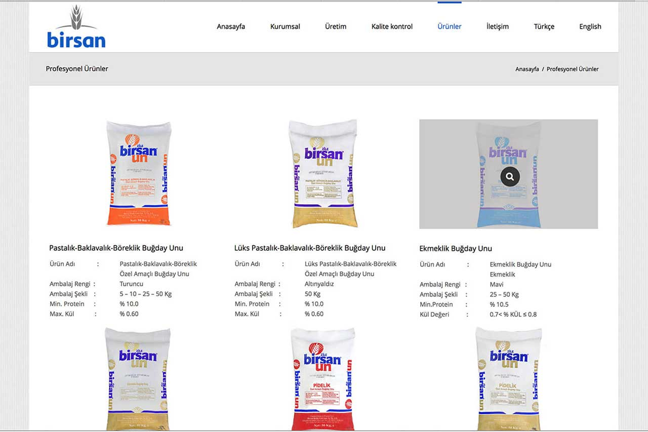 birsan.com web design. Birsan is food company